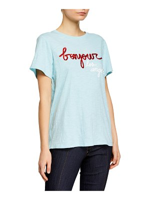 Cinq a Sept Bonjour Los Angeles Sequined Graphic Tee