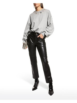 Cinq a Sept Brandy Blouson-Sleeve Bejeweled Pullover Top