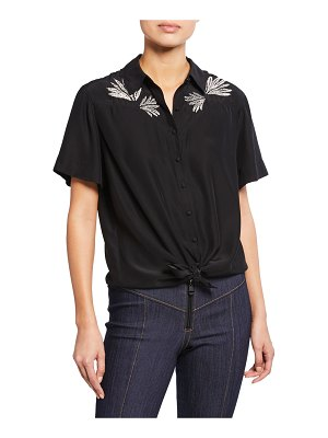 Cinq a Sept Bridget Embroidered Button-Front Silk Top