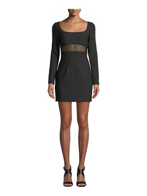 Cinq a Sept Celia Mesh-Panel Long-Sleeve Cocktail Dress