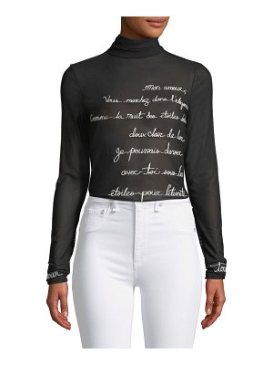 Cinq a Sept Cherice Embroidered Graphic Turtleneck Top