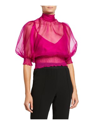 Cinq a Sept Cleo Sheer Elbow-Sleeve Top