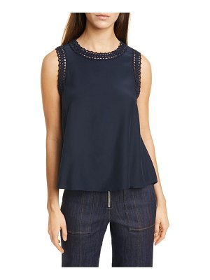 Cinq a Sept ellina crochet trim silk tank