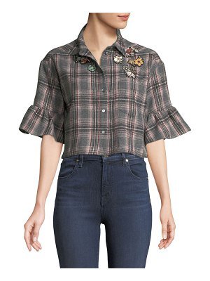 Cinq a Sept Emile Embellished Plaid Button-Front Crop Top
