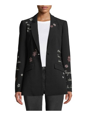 Cinq a Sept Estelle Embroidered One-Button Jacket