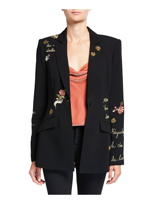 Cinq a Sept Estelle Paisley Love Letter Embroidered Crepe Blazer