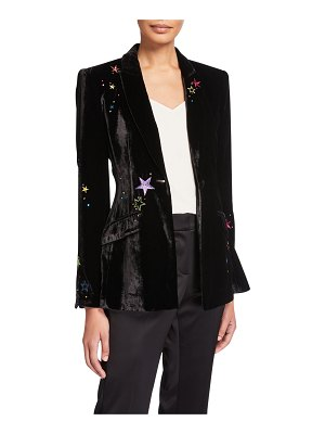 Cinq a Sept Estelle Velvet Star-Embroidered Blazer