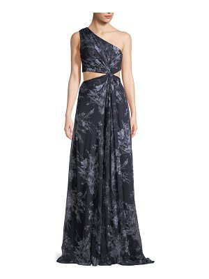 Cinq a Sept Goldie One-Shoulder Floral-Print Silk Open-Waist Gown