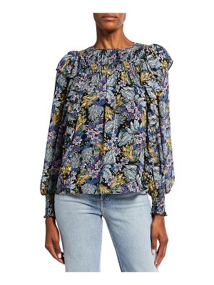 Cinq a Sept Harriet Long-Sleeve Smocked Floral Top