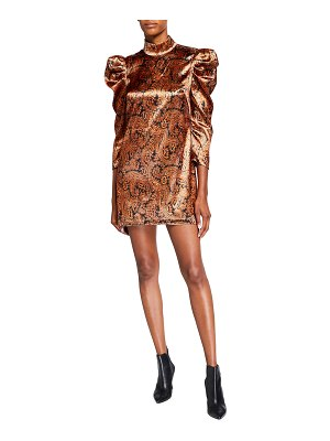 Cinq a Sept Karen Long-Sleeve Paisley Mini Dress
