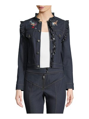 Cinq a Sept Lina Button-Front Embroidered Denim Jacket