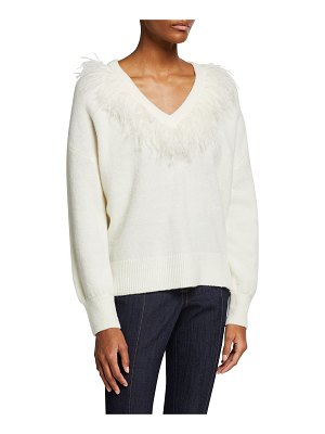 Cinq a Sept Lizzie Feathered-Trim V-Neck Sweater