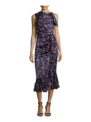Cinq a Sept Nanon Sleeveless Ruched Floral-Print Midi Cocktail Dress