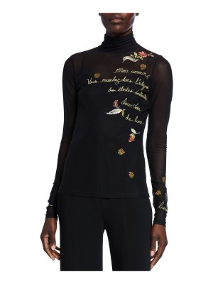 Cinq a Sept Paisley Love Story Embroidered Turtleneck Top