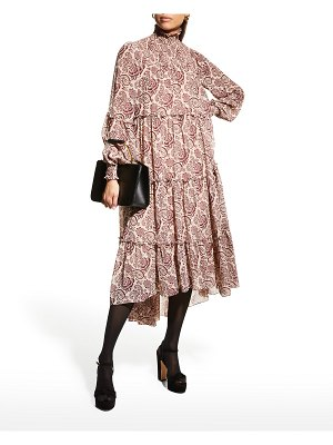 Cinq a Sept Rika Tiered Paisley High-Low Dress