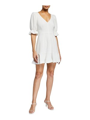 Cinq a Sept Riley V-Neck Elbow-Sleeve Mini Flounce Dress
