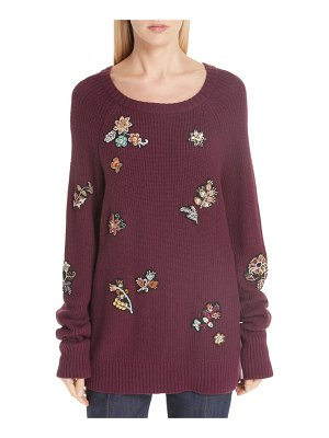 Cinq a Sept tania embellished wool & cashmere blend sweater