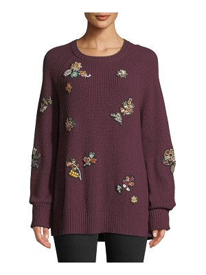 Cinq a Sept Tania Embroidered Scoop-Neck Sweater