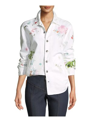 Cinq a Sept Whimsical Canyon Button-Front Embroidered Denim Jacket