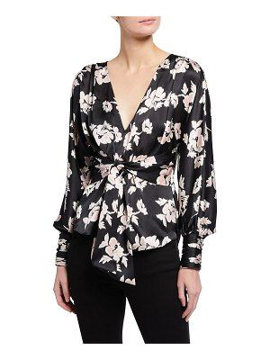 Cinq a Sept Yesenia Floral Print Knotted Silk Top