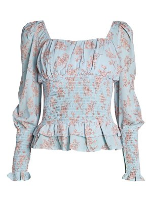 Cistar New York Ruffled Floral Peasant Top