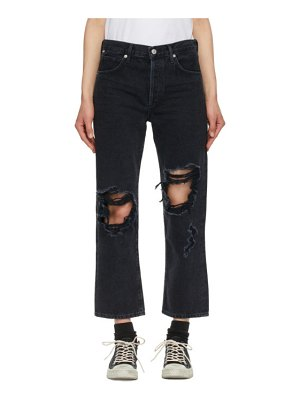 Citizens of Humanity black emery crop relaxed straight jeans
