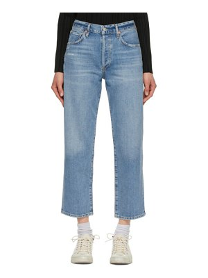 Citizens of Humanity blue emery crop relaxed straight jeans