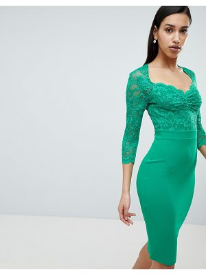 City Goddess 3/4 Sleeve Lace Midi Dress