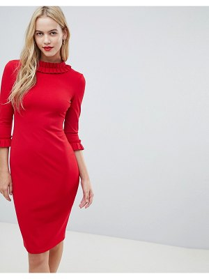 City Goddess 3/4 Sleeve Pencil Midi Dress With Pleated Detail