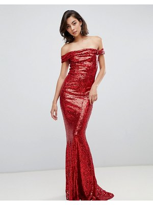 City Goddess bardot sequin maxi dress with bow detail