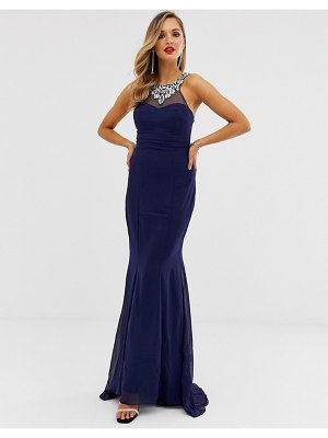 City Goddess embellished chiffon maxi dress-navy