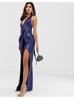 City Goddess extreme split all over sequin maxi dress-navy