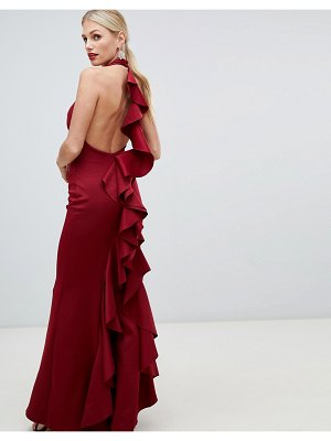 City Goddess halter neck maxi dress with exposed back detail