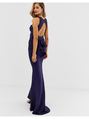 City Goddess lace bodice open back maxi dress-navy