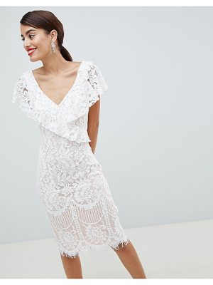 City Goddess Lace Pencil Dress With Frill Overlay