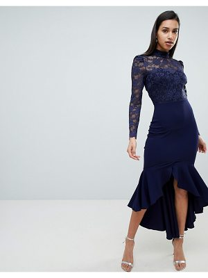 City Goddess long sleeve high neck fishtail maxi dress with lace detail