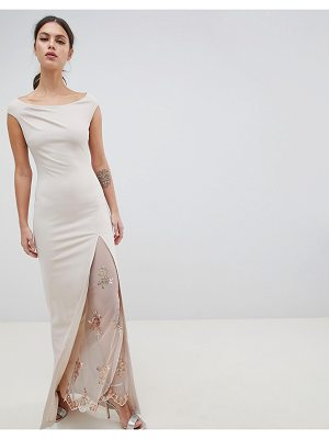 City Goddess Off The Shoulder Maxi Dress With Lace Split Detail