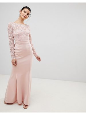 City Goddess Open Back Lace Maxi Dress With Bow Detail