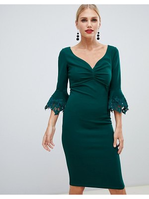 City Goddess pencil midi dress with lace detail