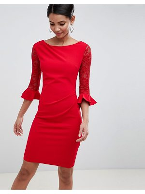 City Goddess Pleated Midi Dress With Lace Sleeves