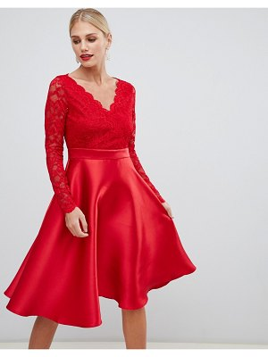 City Goddess prom dress with lace sleeves