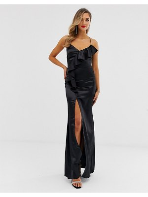 City Goddess ruffle satin slit front maxi dress-black