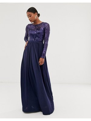 City Goddess long sleeve sequin bodice maxi dress-navy