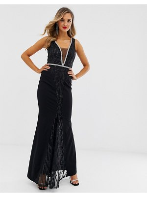 City Goddess sequin and chiffon wrap maxi dress-black