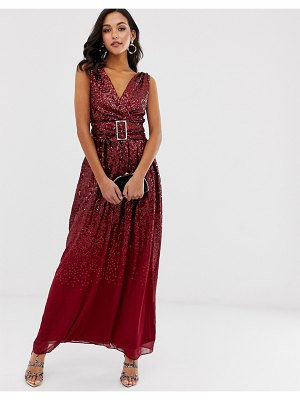 City Goddess sequin embellished belted maxi dress-red