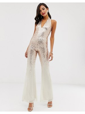 City Goddess sequin jumpsuit-gold