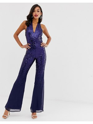 City Goddess sequin jumpsuit-navy