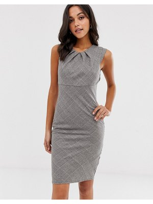 City Goddess stephanie pratt check midi pencil dress-gray