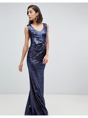 City Goddess V Neck Sequin Maxi Dress With Bow Detail