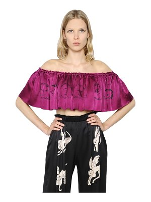 CLAIRE BARROW Cropped & ruffled printed satin top